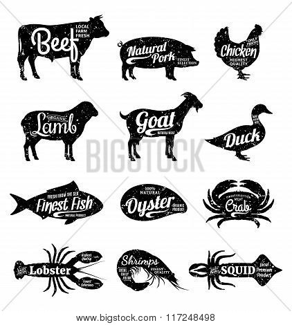 Vector Farm Animals And Seafood Silhouettes Collection. Butcher Shop And Seafood Shop Labels