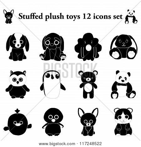 Stuffed plush toys 12 simple icons set
