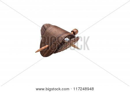 wooden hair pin on white background