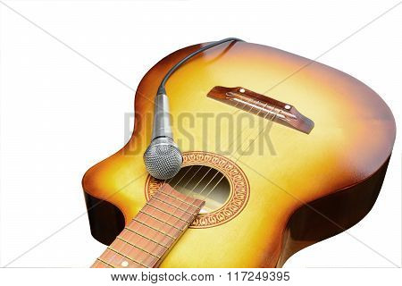 Silver Microphone Lays On Acoustic Guitar