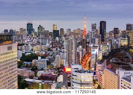 Tokyo, Japan cityscape towards Tokyo Tower.