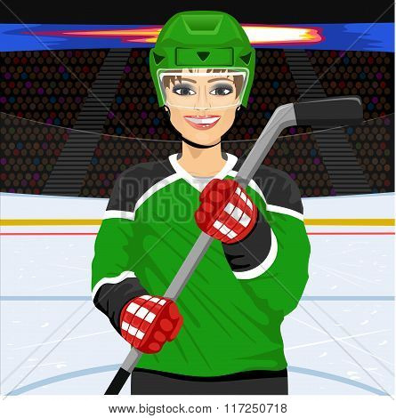 female ice hockey player with an ice hockey stick