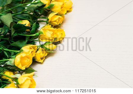 Yellow Roses On A Light Wooden Background. Women' S Day, Valentines Day, Mothers Day