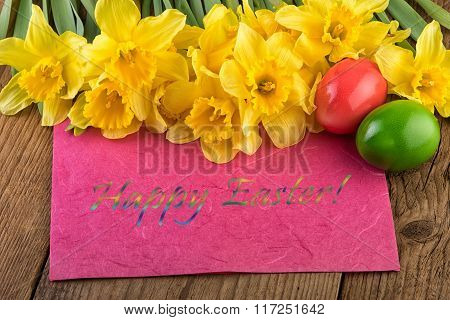 Easter card yellow flowers text Happy Easter