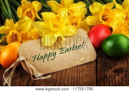 Easter greeting card yellow flowers sunlight effect