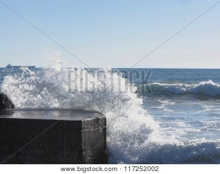Stormy Sea Along Tuscany Coastline In Livorno, Italy