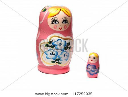 Pink Matryoshka Dolls On A White Background