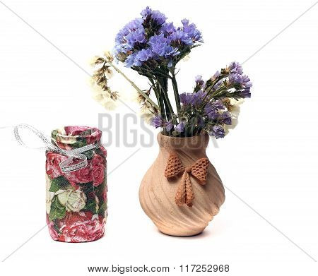 Dried Flowers In A Vase And Vase