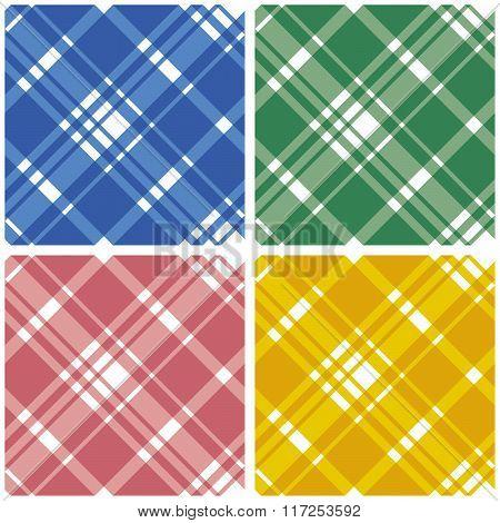 Abstract Tartan Chekered Seamless Pattern Set
