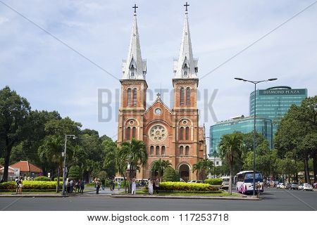 View of the Cathedral Notre Dame De Saigon of cloud by day. Ho Chi Minh City, Vietnam