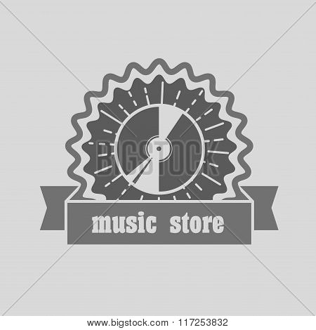 Music Shop, Recording Studio, Karaoke Club Monochrome Label, Badge, Emblem Or Logo In Vintage Style