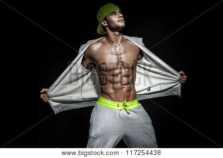 Athletic Male Model Posing .