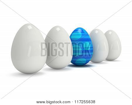 Blue Easter Egg In A Row Of The White Eggs