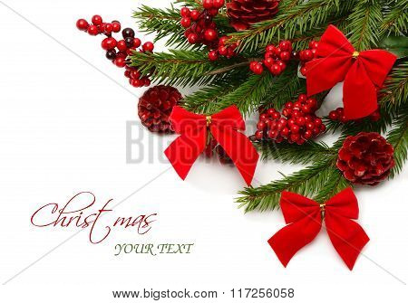 Colorful Christmas Composition With Pine Branches