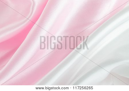 Abstract Background - Pink And White Satin Textile