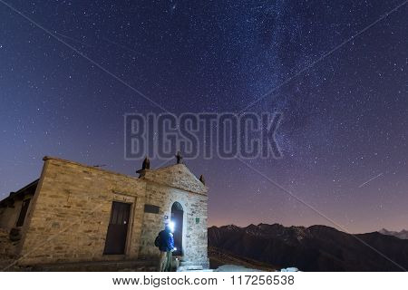 People Watching Starry Sky And Milky Way On The Alps