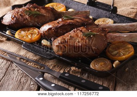 Beef Steak With Grilled Vegetables On Pan Close-up. Horizontal