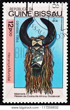 Postage Stamp Guinea-bissau 1984 Mask, West African Coast