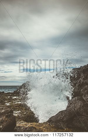 Halona Blowhole Spewing Sea Water