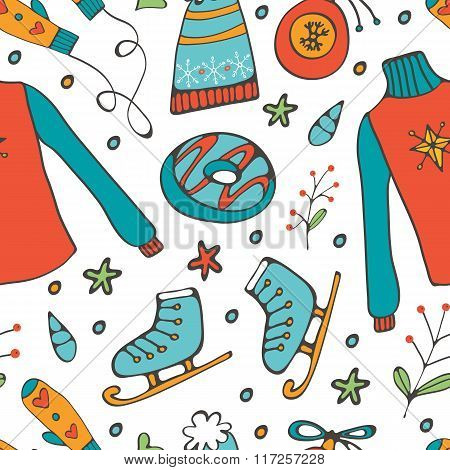 Colorful hand drawn pattern of winter elements