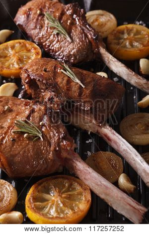 Delicious Beef Steak With Spices On The Grill Close Up. Vertical