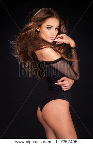 Elegant Sexy Brunette Woman .