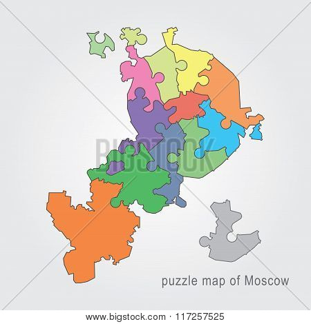 Moscow administrative map - puzzle