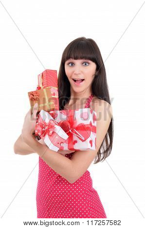 Amazed Young Girl With Heaps Of Present