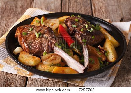 Beef Steak Grilled And Fried Potatoes On A Plate Close-up. Horizontal