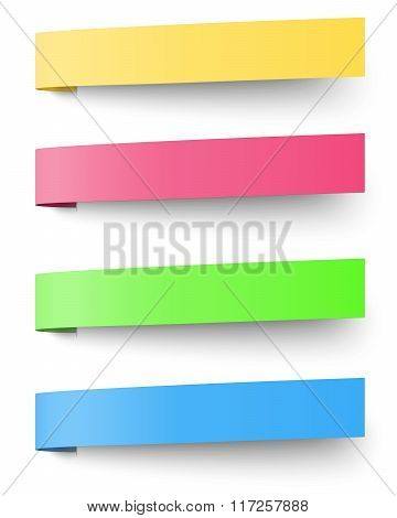 Yellow, Red, Blue And Green Sticky Notes Isolated