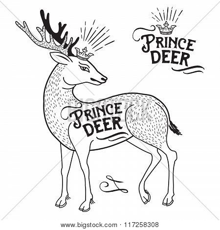Deer Animal Illustration With A Crown On His Head And Text. Prince Deer. Vector Hand Drawn. Design Graphic Element, Emblem, Logo, Insignia, Identity, Logotype, Poster. Deer Illustration Vintage.