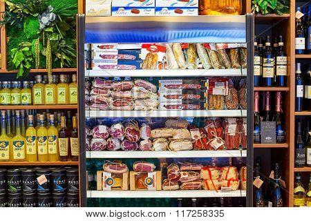 ROME, ITALY - AUGUST 16, 2015: interior of store at Fiumicino Airport. Fiumicino - Leonardo da Vinci International Airport is a major international airport in Rome, Italy