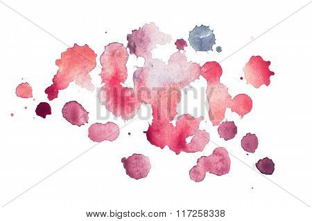 Abstract watercolor aquarelle hand drawn blot colorful red paint splatter stain.