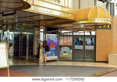 NICE, FRANCE - AUGUST 15, 2015: McDonald's restaurant entrance. McDonald's is the world's largest chain of hamburger fast food restaurants, founded in the United States.