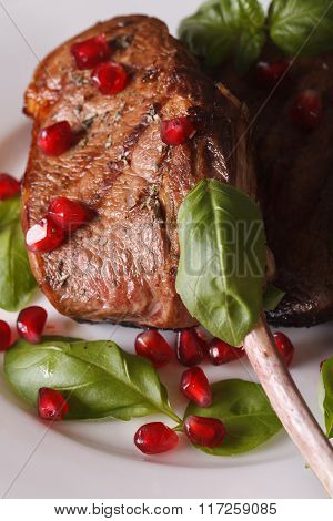 Beef Steak With Pomegranate Seeds And Basil Macro. Vertical