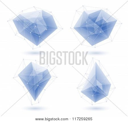 Blue abstract ice crystals set. Vector illustration.