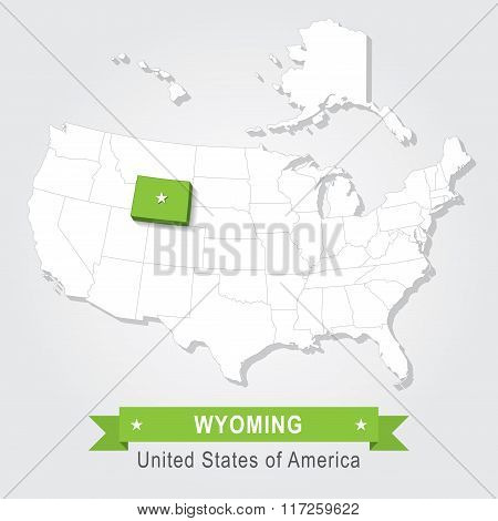 Wyoming state. USA administrative map.