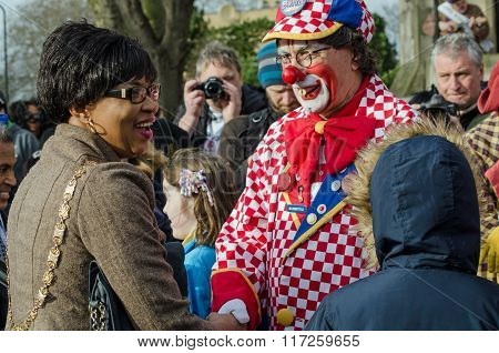 Councillor And Clown At Annual Service In Hackney