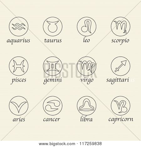 Zodiac Astrological Signes In Round Shapes.