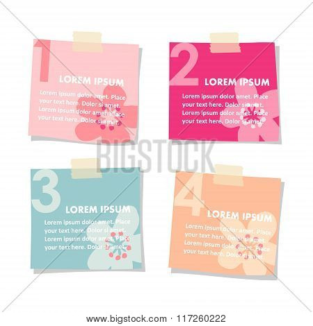 Set Of Post Sticky Notes Papers, Spring Floral Design, Vectors