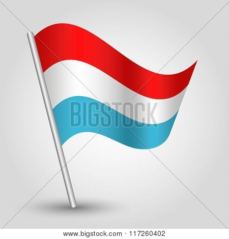 Vector Waving Simple Triangle Luxembourger Flag On Slanted Pole Icon Of Luxembourg With Metal Stic
