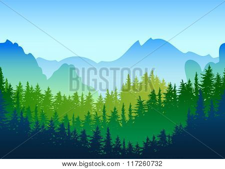 Vector Summer Or Spring Landscape. Panorama Of Mountains, Green Pine And Fir-tree Forest.