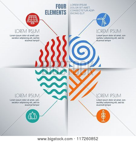 Vector Infographics Design Template With Four Elements Illustration And Environmental, Ecology Icons