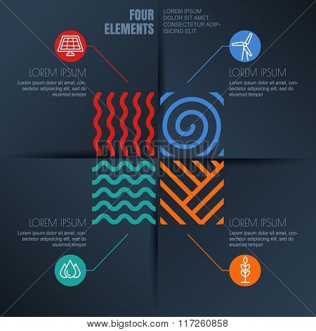 Four Elements Illustration And Environmental, Ecology Icons On Black Background.