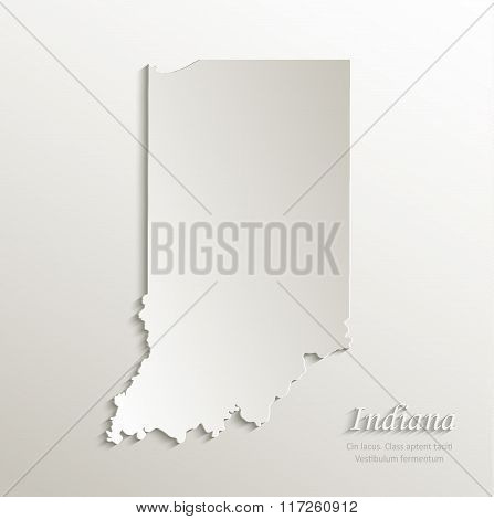 Indiana map card paper 3D natural vector