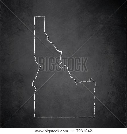 Idaho map blackboard chalkboard raster