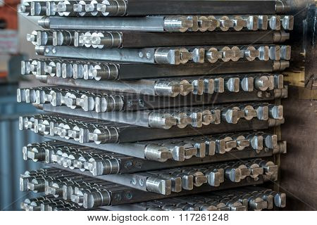 Close-up of iron billets