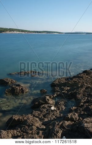 Rocky Coast And Clear Sea Water In The  Summer Morning In Croatia
