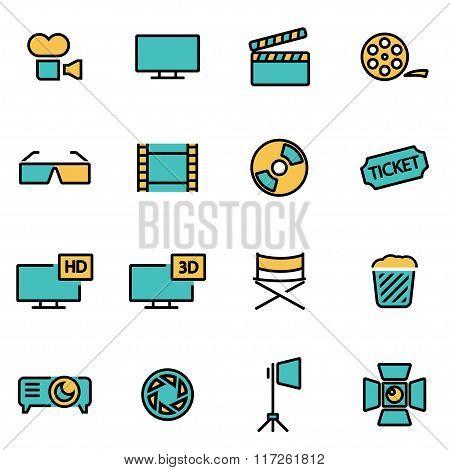 Vector Line Cinema Icon Set