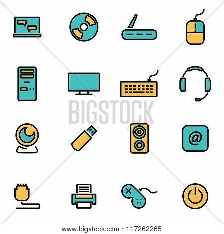 Vector Line Computer Icon Set